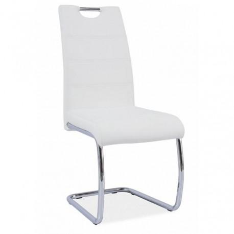 Jedálenská stolička, biela/svetlé šitie, ABIRA NEW