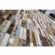 Luxusný kožený koberec, hnedá/biela, patchwork, 69x140, KOŽA TYP 5