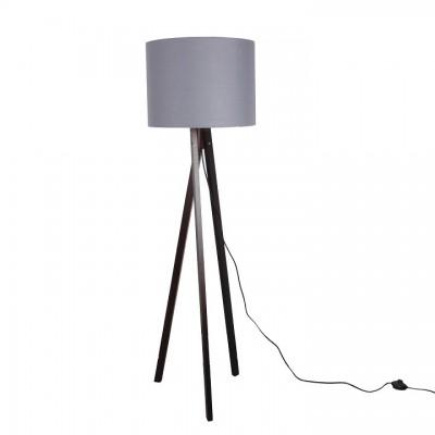 Stojacia lampa, sivá/drevo čierne, LILA Typ 10