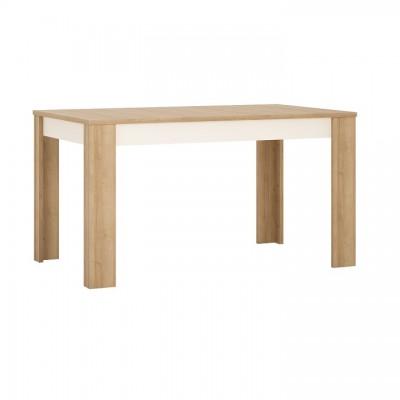Jedálenský stôl LYOT03, rozkladací, dub riviera/biela, LEONARDO