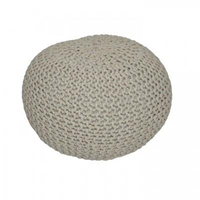 Pletený taburet, hnedosivá bavlna, GOBI TYP 2