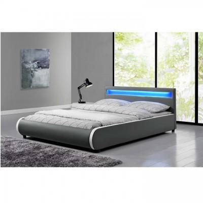 Manželská posteľ s, RGB LED osvetlením, sivá, 180x200, DULCEA