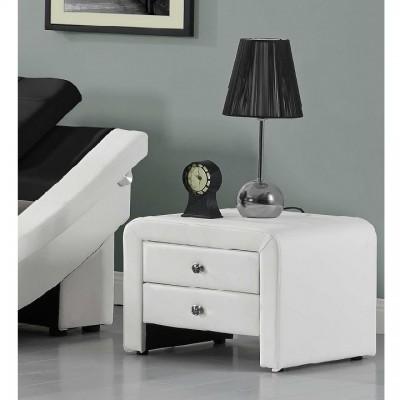 Nočný stolík, ekokoža, biela, WILSON