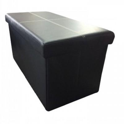 Skladací taburet, čierna ekokoža, IMRA