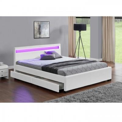 Manželská posteľ, RGB LED osvetlenie, biela ekokoža, 160x200, CLARETA