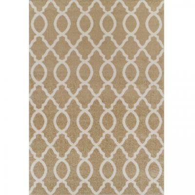 Koberec, béžová/vzor v slonovinovej, 57x90 cm, NALA