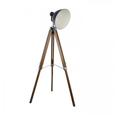 Stojacia lampa, tmavosivý kov/drevo, CINDA TYP 27 YFY804-A