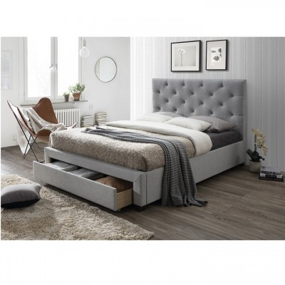 Moderná posteľ s úložným priestorom, sivá látka, 180x200, SANTOLA