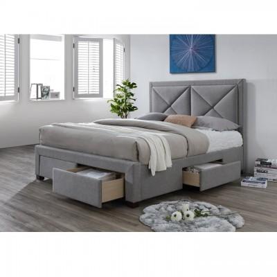 Luxusná posteľ s úložným priestorom, látka sivý melír, 160x200, XADRA