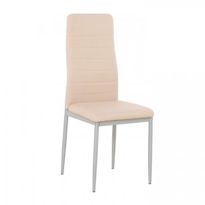 Stolička, ekokoža púdrová ružová/sivý kov, COLETA NOVA