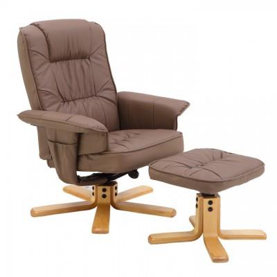 Relaxačné kreslo s podnožou, cappucino, LERATO