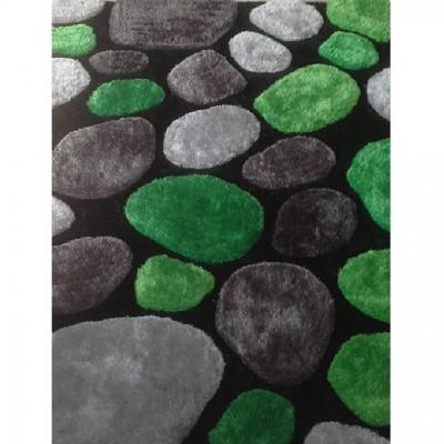 Koberec, zelená/sivá/čierna, 120x180, PEBBLE TYP 1