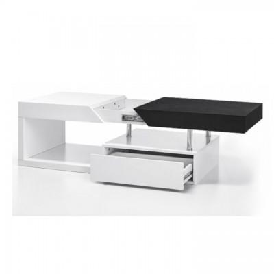 Konferenčný stolík, biely lesk/čierne drevo, MELIDA