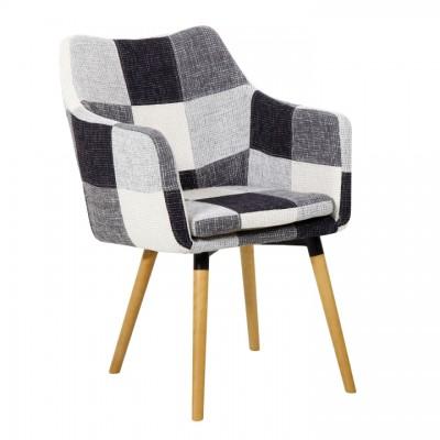 Kreslo, biela/čierna vzor patchwork/buk, LANDOR