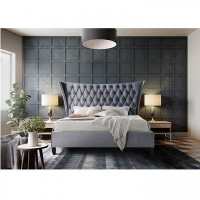 Manželská posteľ, sivá/wenge, 180x200, ALESIA