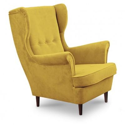 Kreslo ušiak, žltá/wenge, RUFINO
