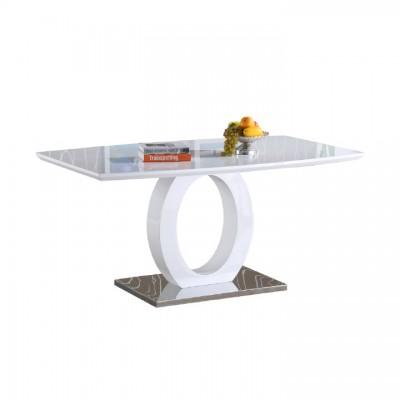 Jedálenský stôl, biela vysoký lesk/oceľ, ZARNI
