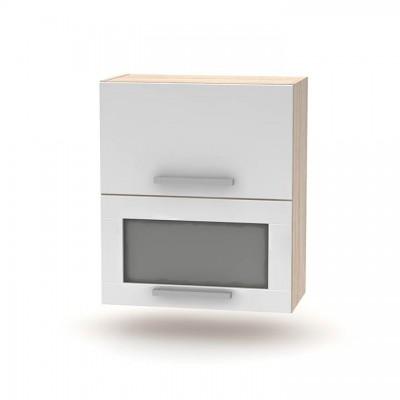 Horná výklopná skrinka so sklom 2DV, dub sonoma/biela, NOVA PLUS NOPL-009-OH