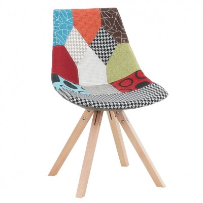 Stolička, látka patchwork/drevo, KIMA NEW TYP 1