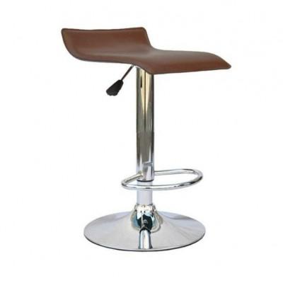 Barová stolička, ekokoža hnedá/chróm, LARIA NEW