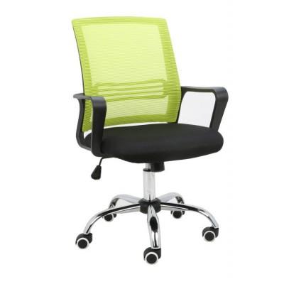 Kancelárska stolička, sieťovina zelená/látka čierna, APOLO