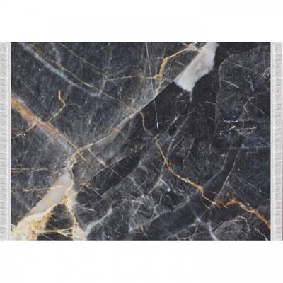 Koberec, vzor čierny mramor, 80x200, RENOX TYP 1