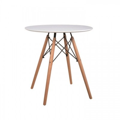 Jedálenský stôl, biela/buk, GAMIN NEW 60