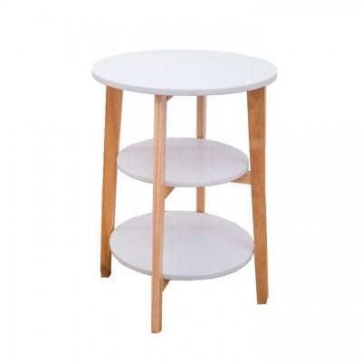Príručný stolík, biela/prírodná, KASE