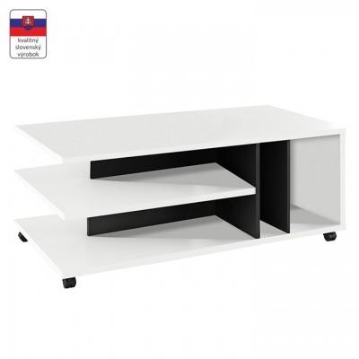 Konferenčný stolík, biela/čierna, DASTI