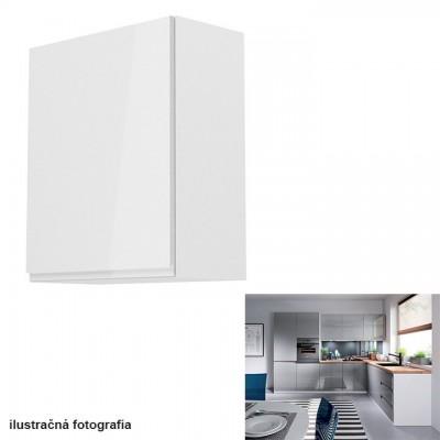 Horná skrinka, biela/sivý extra vysoký lesk, ľavá, AURORA G601F