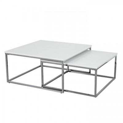 Set 2 konferenčných stolíkov, chróm/biela ENISOL TYP 1