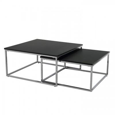 Konferenčné stolíky, set 2 ks, čierna/chróm, AMIAS