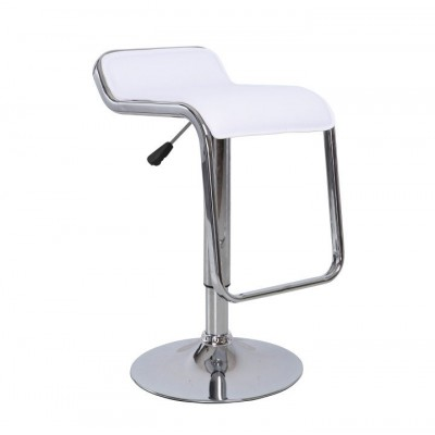 Barová stolička, ekokoža biela/chróm, ILANA NEW