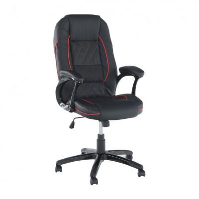 Kancelárske kreslo, ekokoža čierna/červený lem, PORSHE NEW