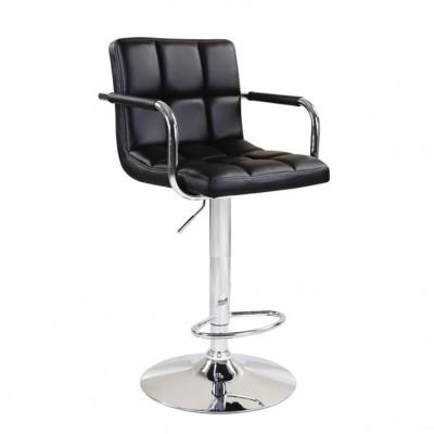 Barová stolička, čierna ekokoža/chróm, LEORA 2 NEW