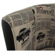 Klubové kreslo, ekokoža čierna/látka vzor novín, CUBA