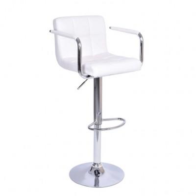 Barová stolička, biela ekokoža/chróm, LEORA 2 NEW