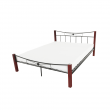 Kovová posteľ, drevo orech/čierny kov, 140x200, PAULA