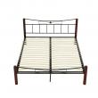 Kovová posteľ, drevo orech/čierny kov, 160x200, PAULA