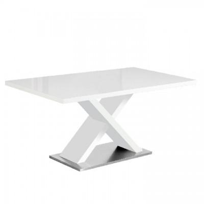 Jedálenský stôl, biela s vysokým leskom HG, FARNEL