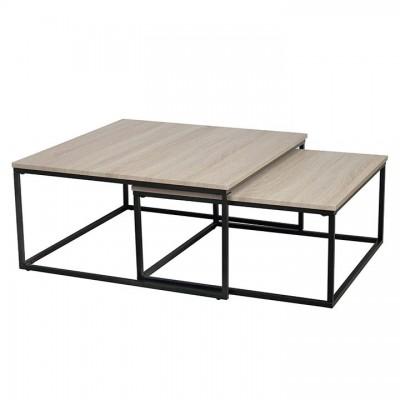 Set dvoch konferenčných stolíkov, dub sonoma/ čierna, KASTLER TYP 1