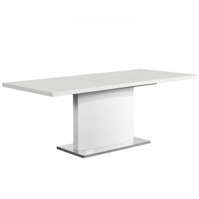 Rozkladací jedálenský stôl, biela vysoký lesk HG, KORINTOS