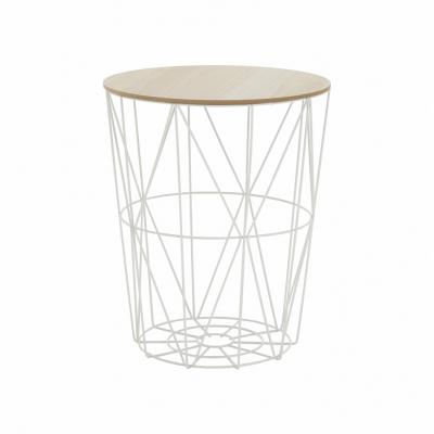 Príručný stolík, prírodná/biela, NANCER TYP 3