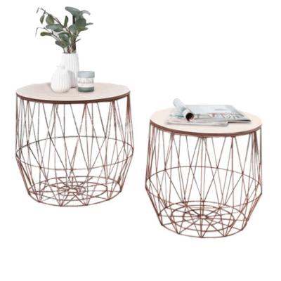 Príručné stolíky, set 2 ks, prírodná/meď, DALUX
