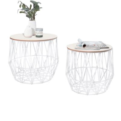Príručné stolíky, set 2 ks, prírodná/biela, DALUX