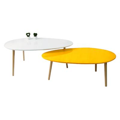 Set 2 konferenčných stolíkov, biela HG/žltomedová HG, DOBLO
