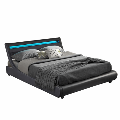 Manželská posteľ s RGB LED osvetlením, čierna, 160x200, FELINA