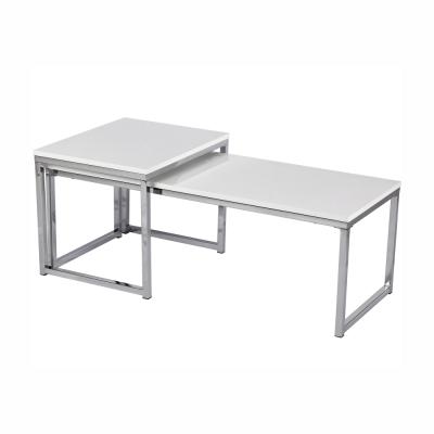 Konferenčné stolíky, set 2 ks, biela extra vysoký lesk, ENISOL TYP 2