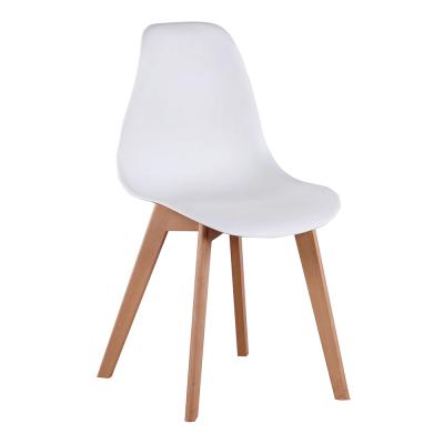 Jedálenská stolička, biela/buk, AYNA