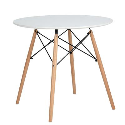 Jedálenský stôl, biela matná/buk, DEMIN